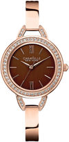 JCPenney CARAVELLE, NEW YORK Caravelle New York Womens Brown with Rose-Tone Bangle Watch 44L134