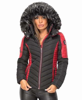 Wulux Womens Ladies Quilted Puffer Bubble Padded Chunky Faux Fur Hooded Contrast Warm Winter Thick Parka Down Bomber Jacket Coat Black Red Size XL/14
