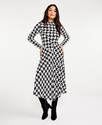 Ann Taylor Houndstooth Mock Neck Midi Dress