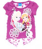 Children's Apparel Network Frozen Anna & Elsa Purple Slit-Back Tee - Toddler