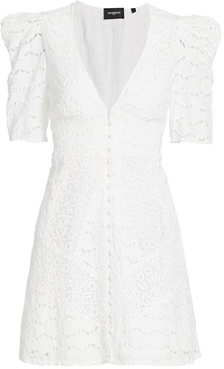 The Kooples Lace Puff-Sleeve Mini Dress