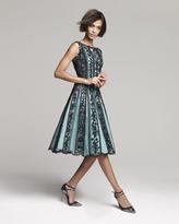 Oscar de la Renta Beaded Lace-Overlay Full-Skirt Dress