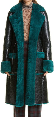 Dries Van Noten Lorca Reversible Crinkle Leather and Genuine Shearling Coat