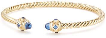 David Yurman 18k Gold Renaissance CableSpira Bangle Bracelet w/ Sapphires, Size M