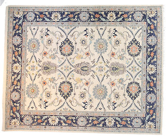 F.J. Kashanian 10'x14' Sari Agra Rug - Ivory/Navy Blue