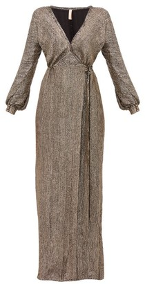 Maria Lucia Hohan Priela Sequinned Crepe Wrap Dress - Womens - Bronze