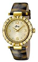 Lotus Women's Quartz Watch with Gold Dial Analogue Display and Brown Leather Strap 15912/6