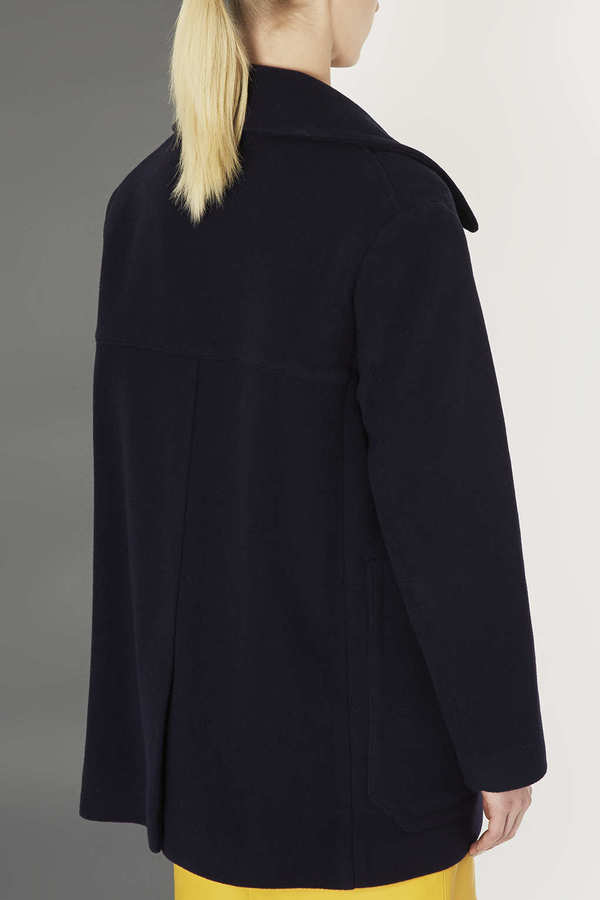 Topshop Navy Wool Coat by Boutique