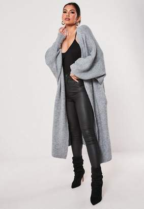 Missguided Gray Long Extreme Oversized Batwing Cardigan