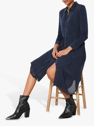 Mint Velvet Cupro Shirt Dress, Dark Blue