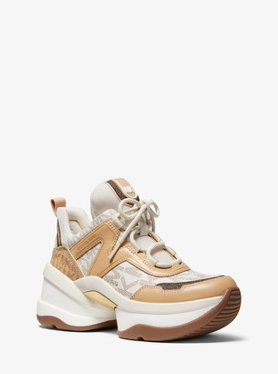 MICHAEL Michael Kors Olympia Logo and Leather Trainer