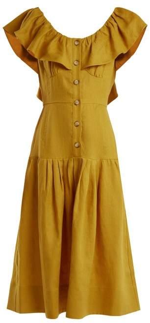 Sea Goldie Dropped Waist Ruffled Neck Linen Dress - Womens - Yellow