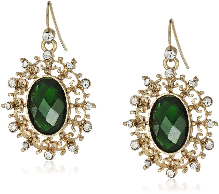 Faceted Green Root Emerald Push Back Dangle Drop Earrings 14k Gold Plated