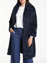 Max Studio Faux Fur Coat, Dark Navy
