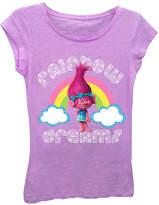 Asstd National Brand Trolls Girls' Rainbow Dreams Short Sleeve Graphic T-Shirt with Silver Glitter