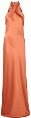 Galvan Eve rust silk gown