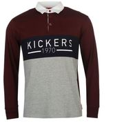 Kickers Mens Rugby Polo Shirt Print Casual Jersey Long Sleeve Collar Neck Top
