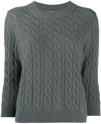 N.Peal Round Neck Cable Cashmere Sweater