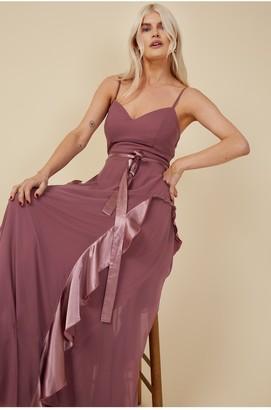 Little Mistress Bridesmaid Mariah Mauve Draped Frill Maxi Dress