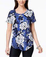 JM Collection Short-Sleeve Floral-Print T-Shirt, Created for Macy's