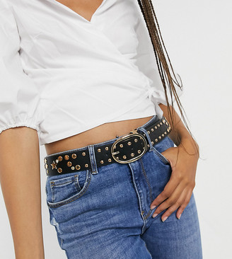 My Accessories London Exclusive waist and hip jeans belt with star detail in gold