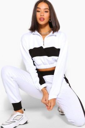 boohoo Colour Block Half Zip Sweat And Jogger Tracksuit