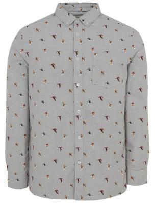 George Grey Skiing Micro Print Long Sleeve Oxford Shirt