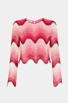 Mary Katrantzou Worry Less Top Pink Ombre Lace