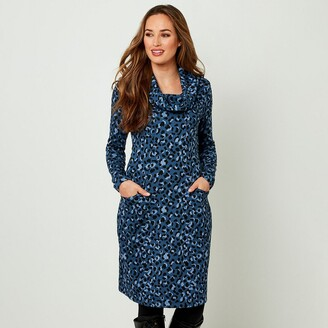 Joe Browns Long-Sleeved Turtleneck Dress in Leopard Print