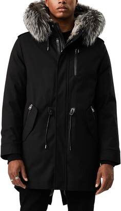 Mackage Moritz Water Repellent Military Parka with Genuine Rabbit Fur and Genuine Fox Fur Trim