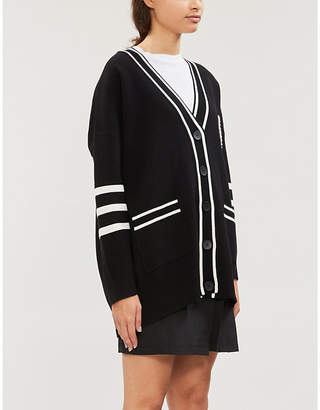 Sandro Melna striped-trim knitted cardigan