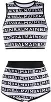 Balmain high-waisted logo stripes bikini