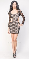 eDressMe Long Sleeved Cut Out Lace Club Dresses