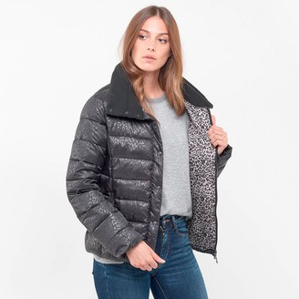 Le Temps Des Cerises Leopard Print Padded Puffer Jacket with High Collar and Pockets