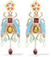 Etro Enameled Gold-tone Multi-stone Earrings