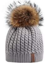 FURTALK Women Lady Girls Crochet Knit Fur Hat with Real Fox Fur Pom Pom Bobble Winter Beanie Hat