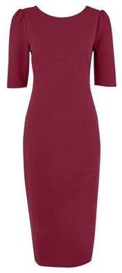 Dorothy Perkins Womens Tall Berry Textured Bodycon Dress