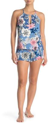 Jonquil In Bloom by Smocked Floral Print Camisole & Shorts 2-Piece Pajama Set
