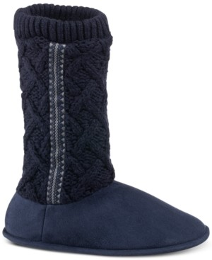 Isotoner Signature Women's Tessa Sweater-Knit Tall Boot Slippers with Memory Foam