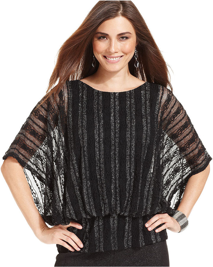 Style&Co. Top, Batwing-Sleeve Metallic Striped Lace Blouson
