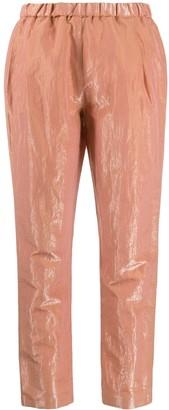 Fabiana Filippi Metallic Shine Effect Creased Trousers