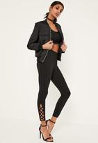 Missguided Black Lace Up Hem Detail Ponte Leggings