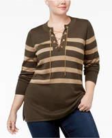 MICHAEL Michael Kors Size Lace-Up Striped Sweater