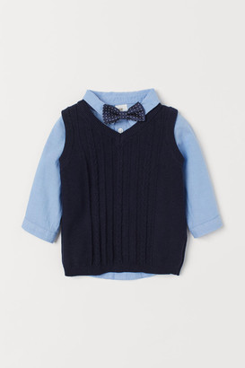 H&M Shirt and Sweater Vest - Blue