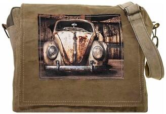 Vintage Addiction Vintage VW Beetle Recycled Military Tent Crossbody Bag