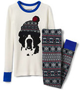Classic Toddler Boys Waffle Knit Snug Fit PJ Set-Rich Sapphire Holiday Bears