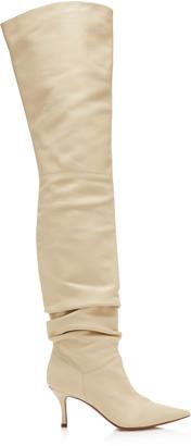 Amina Muaddi Barbara Leather Over-The-Knee Boots