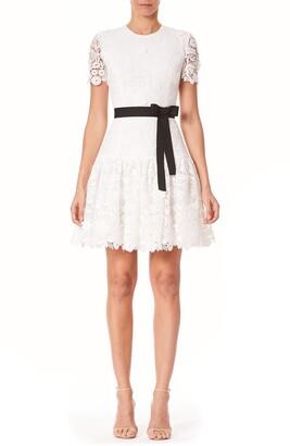 Carolina Herrera Ruffle Hem Lace Minidress