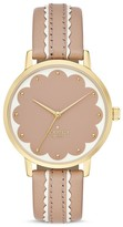 Kate Spade Round Vachetta Leather Strap Scalloped Dial Metro Watch, 34mm