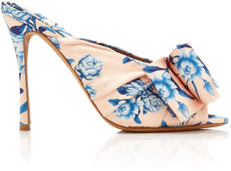 Tabitha Simmons x Johanna Ortiz Lollie Printed Bow-Detailed Silk Mules